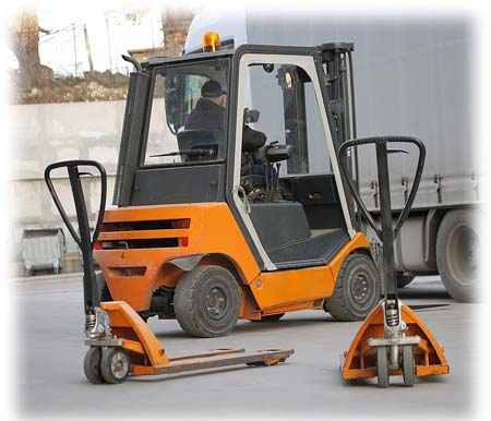 Used Crown forklift at work
